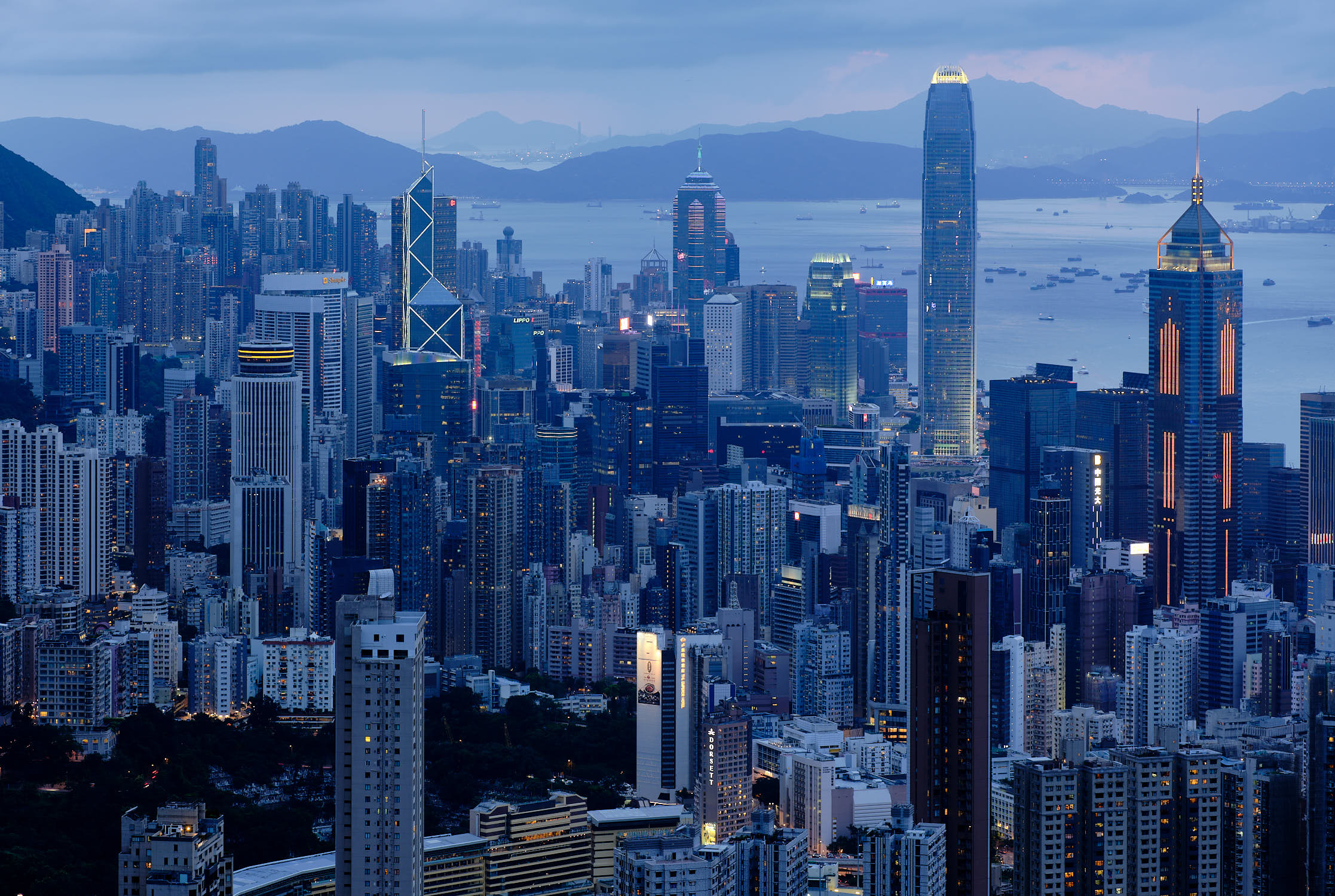 Hong Kong blue hour city view form Jardine's Lookout
