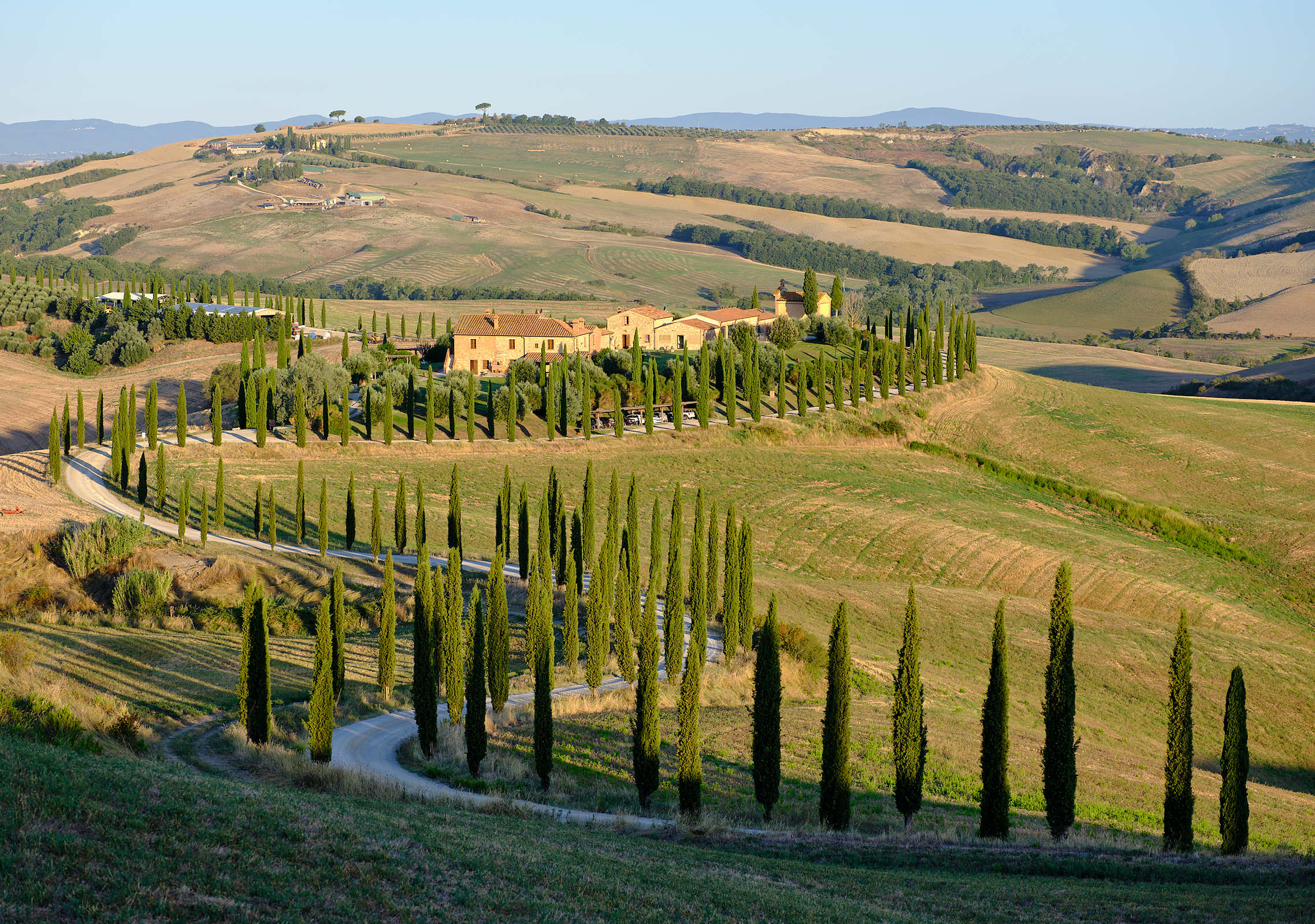 Agriturismo Baccoleno, winding cypress trees, Val d\'Orcia, Tuscany