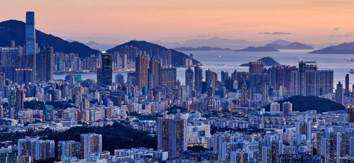 XPan Hong Kong sunset blue hour skyline