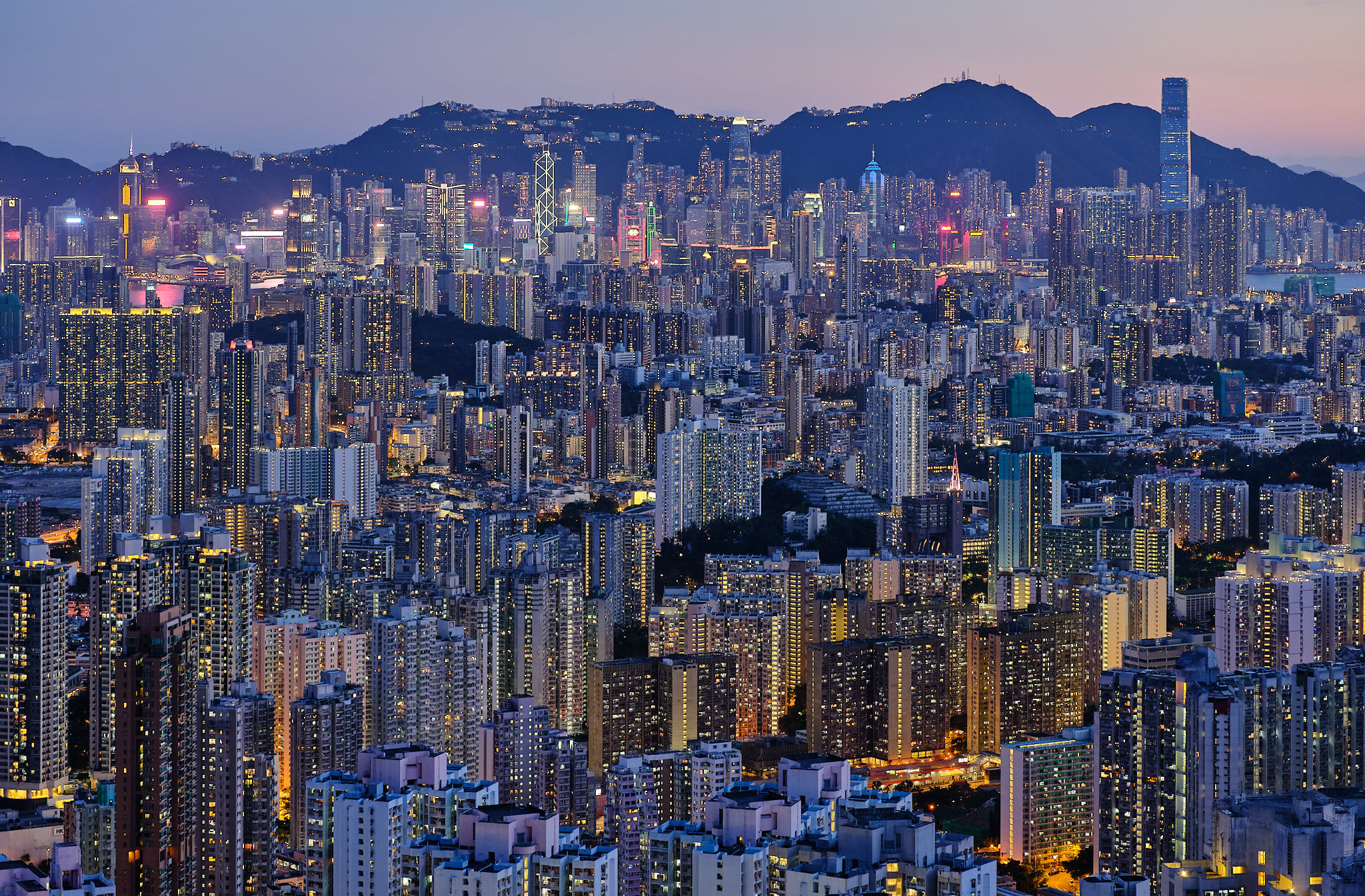Blue hour overlooking Kowloon and Hong Kong Island from Sha Tin Pass Road