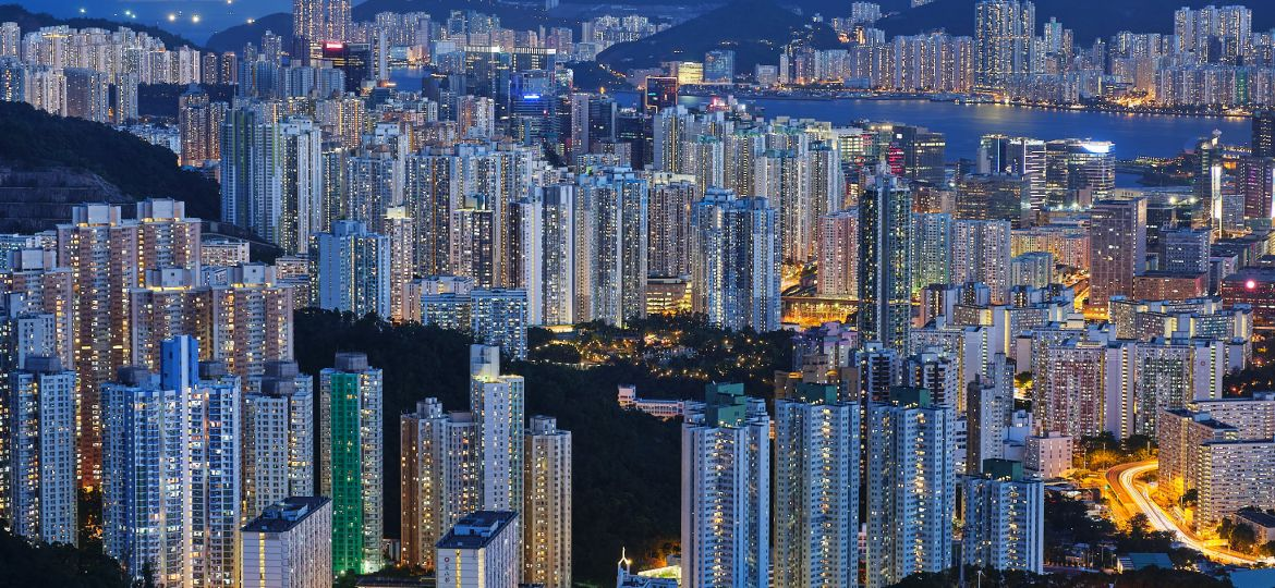 Hong Kong Kowloon Apartments at blue hour