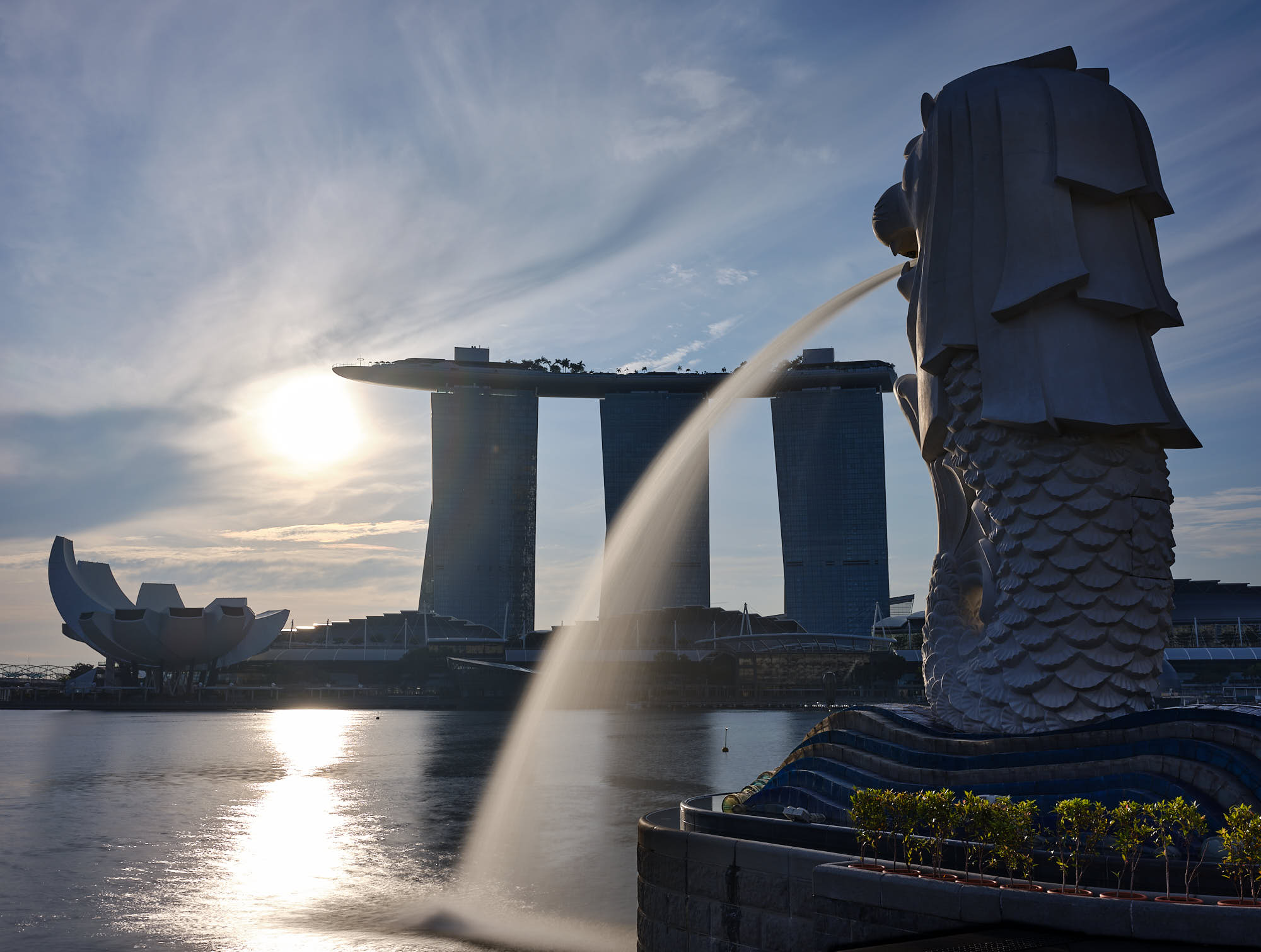 Singapore Merlion at sunrise