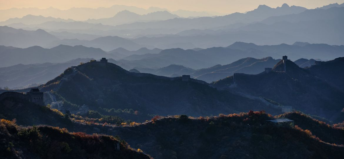 Jinshanling Great Wall of China at sunset