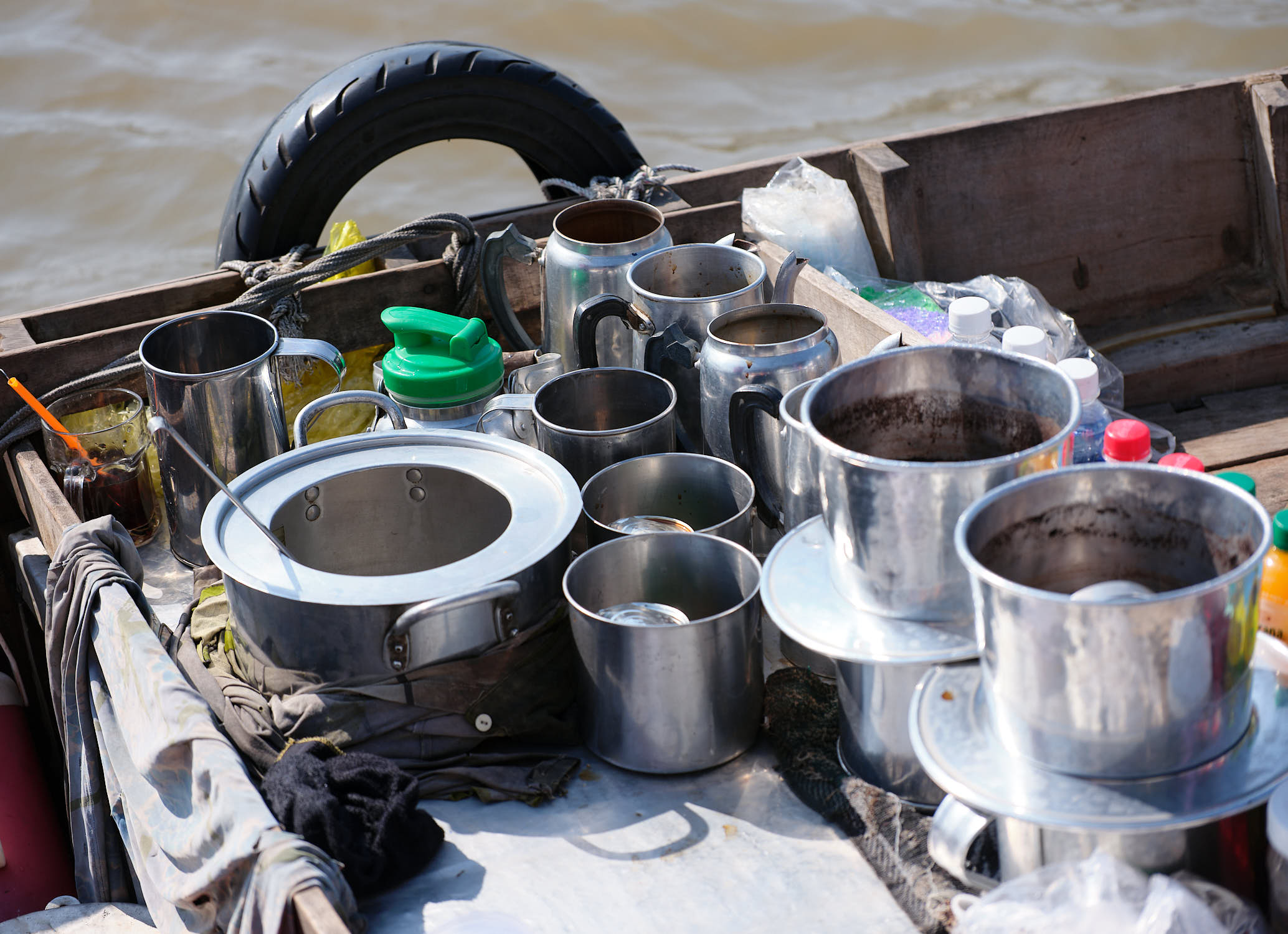 Coffee for sale on Cai Rang Floating Market