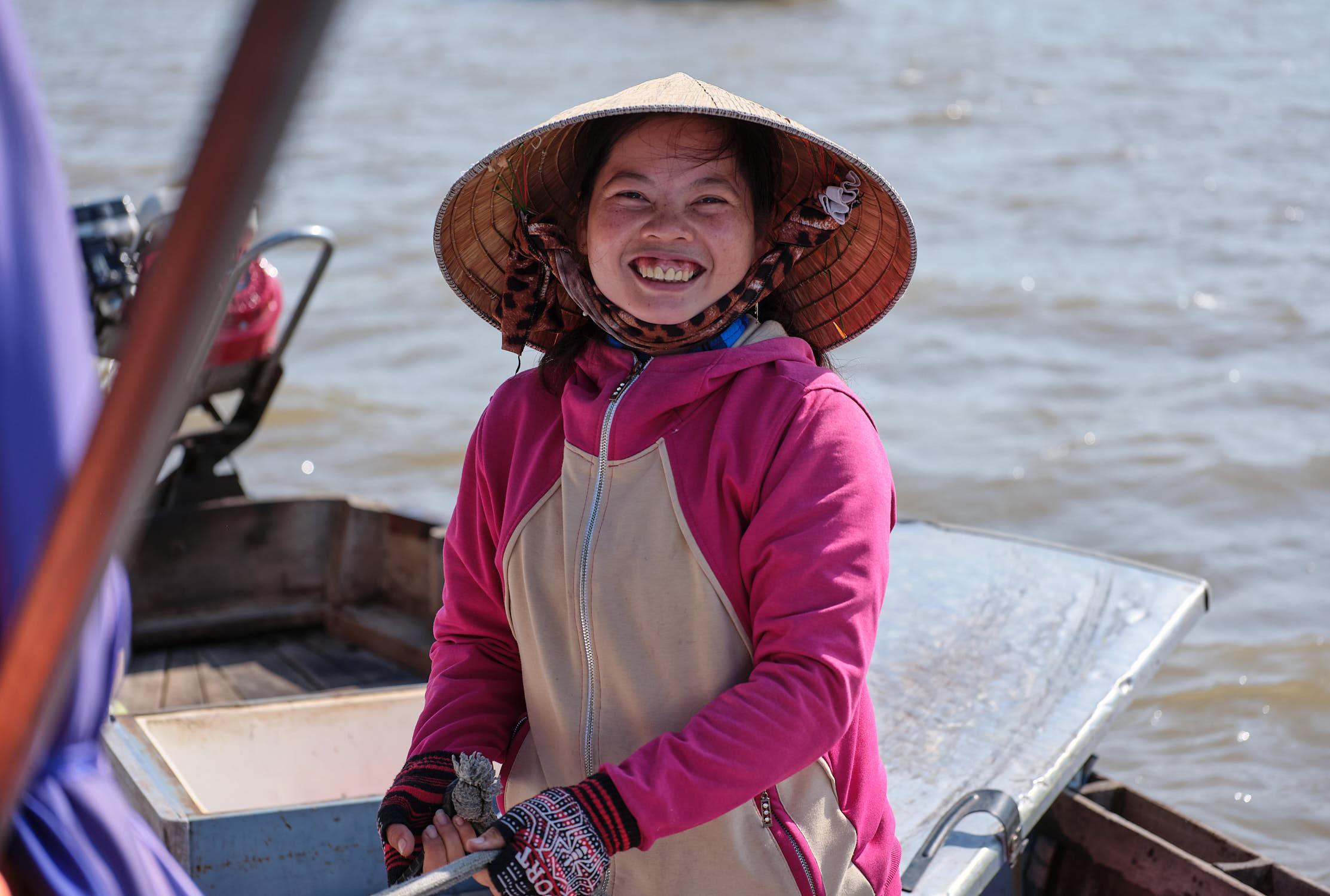 Coffee lady at Cai Rang Floating Market