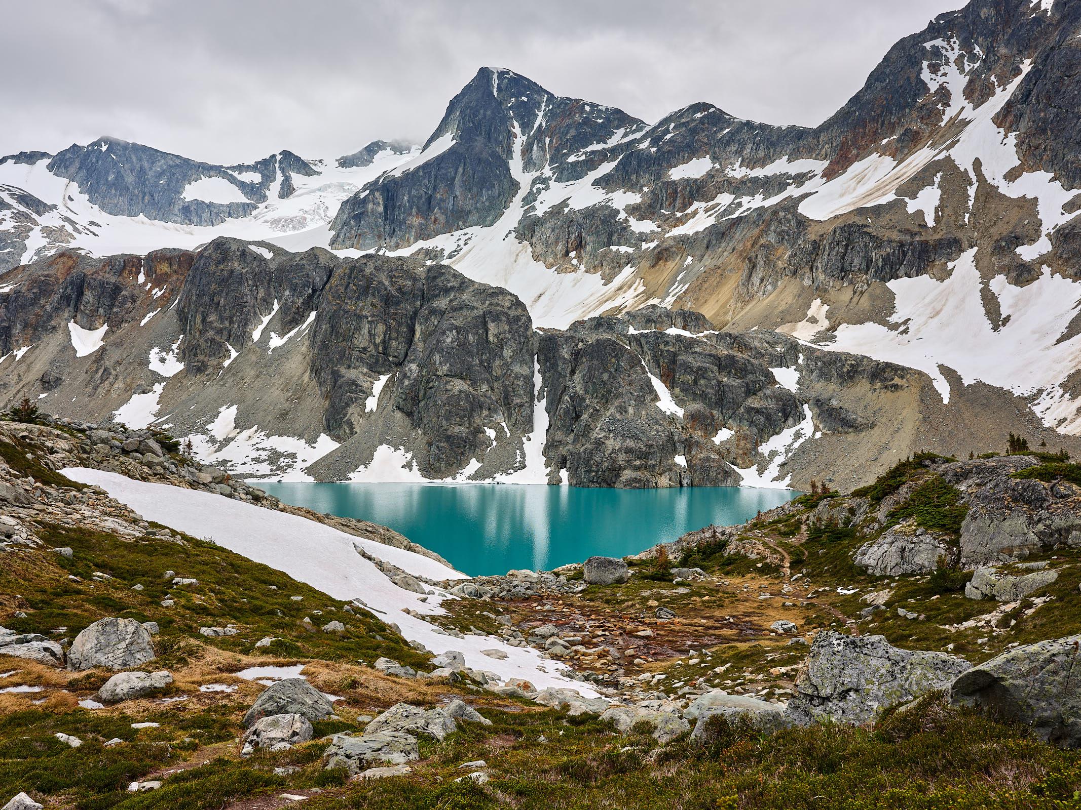 Wedgemount Lake, a glacier lake in Whistler