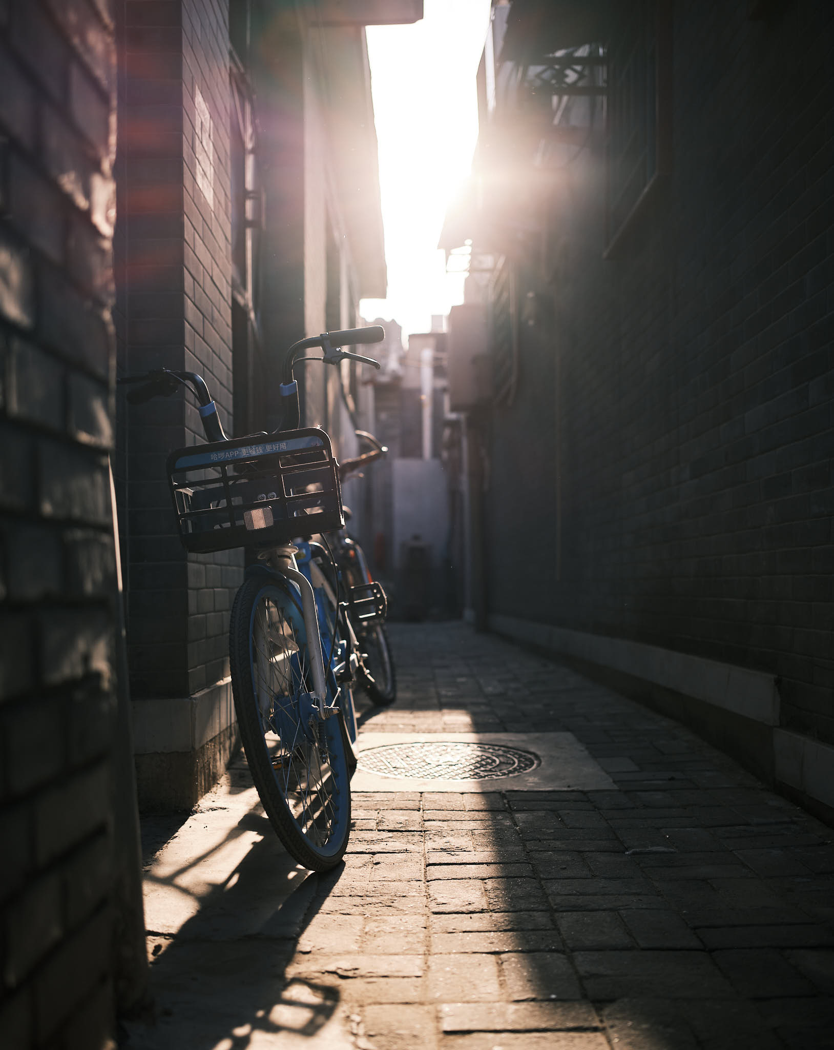 Alipay Bicycle lit by sunset in Qianmen Hutong