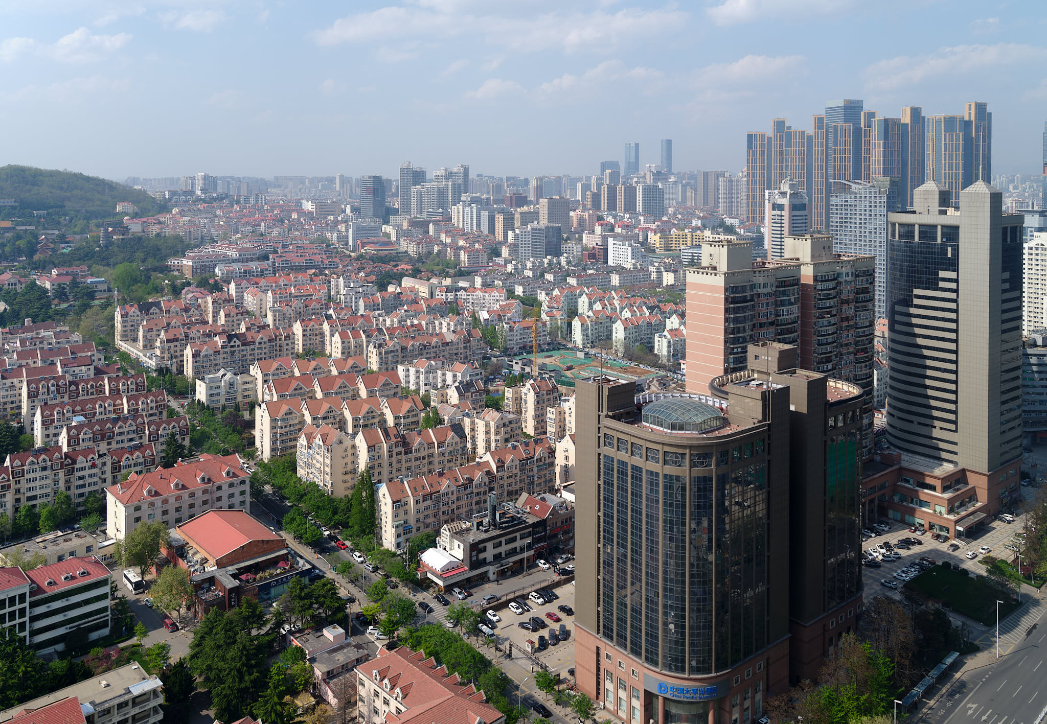 View from Haitian Hotel executive lounge of Qingdao buildings