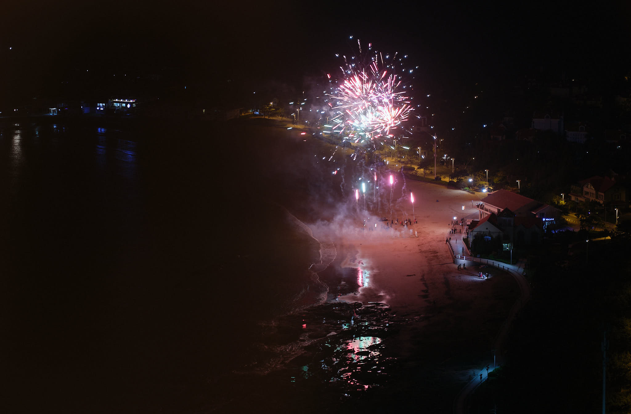 Fireworks at night in Qingdao