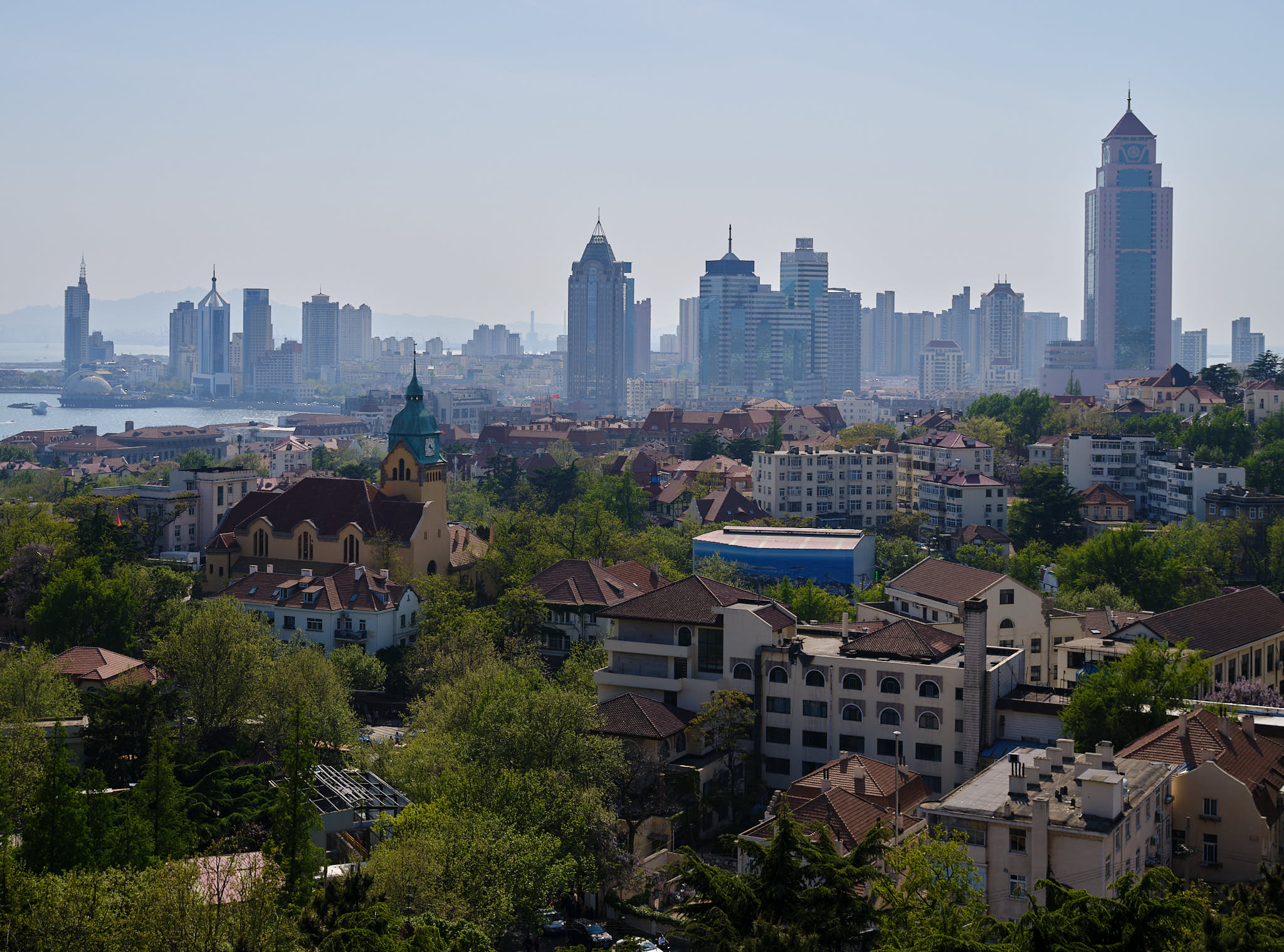 View of Christ Church in Qingdao from Signal Hill