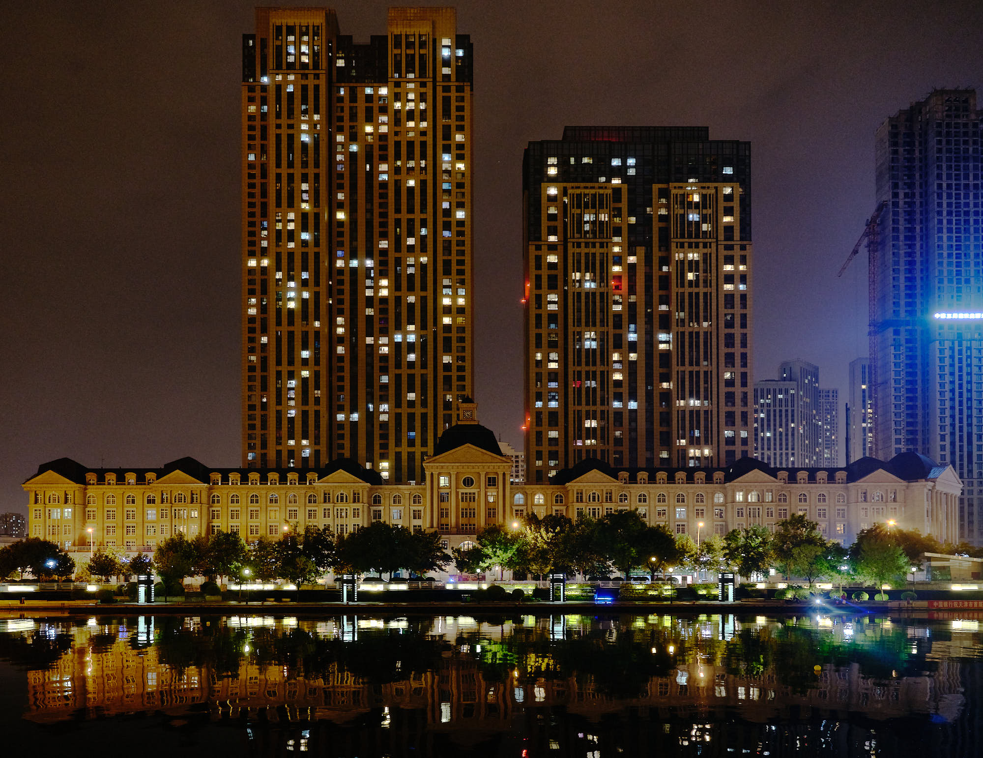 European architecture lit up at night in Tianjin, China