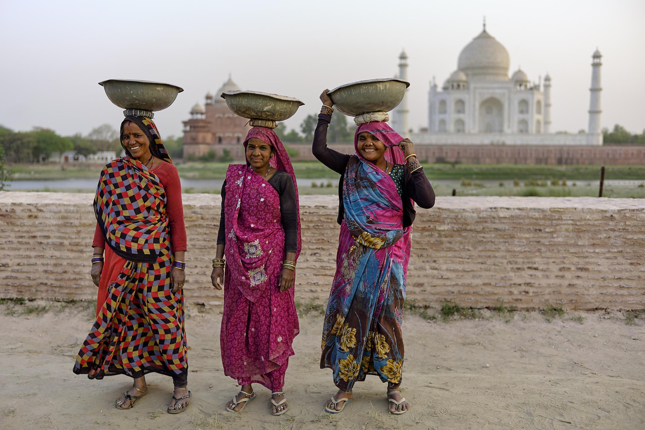 Three posers at Taj Mahal, India