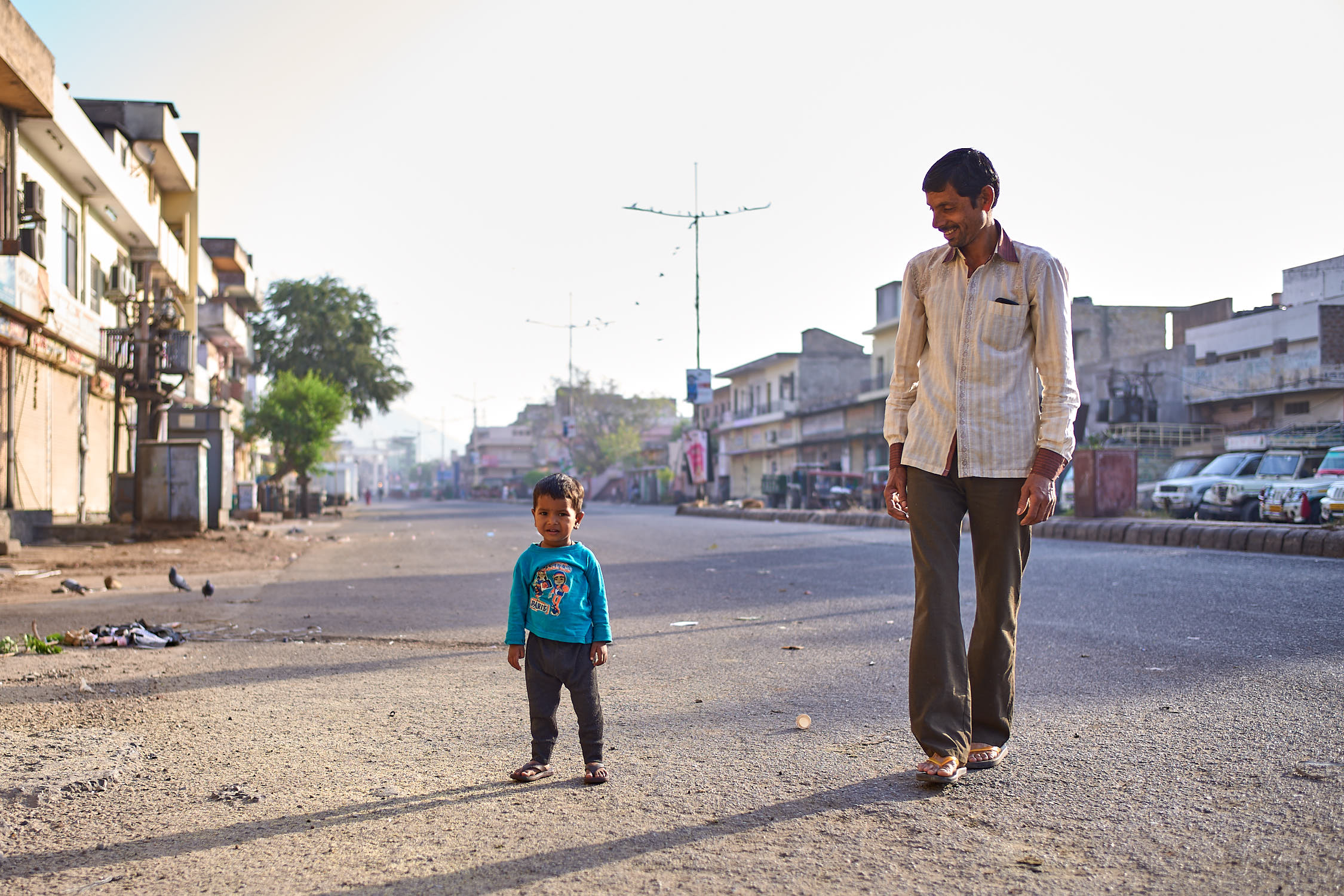 Morning sunrise with a kid, Jaipur India