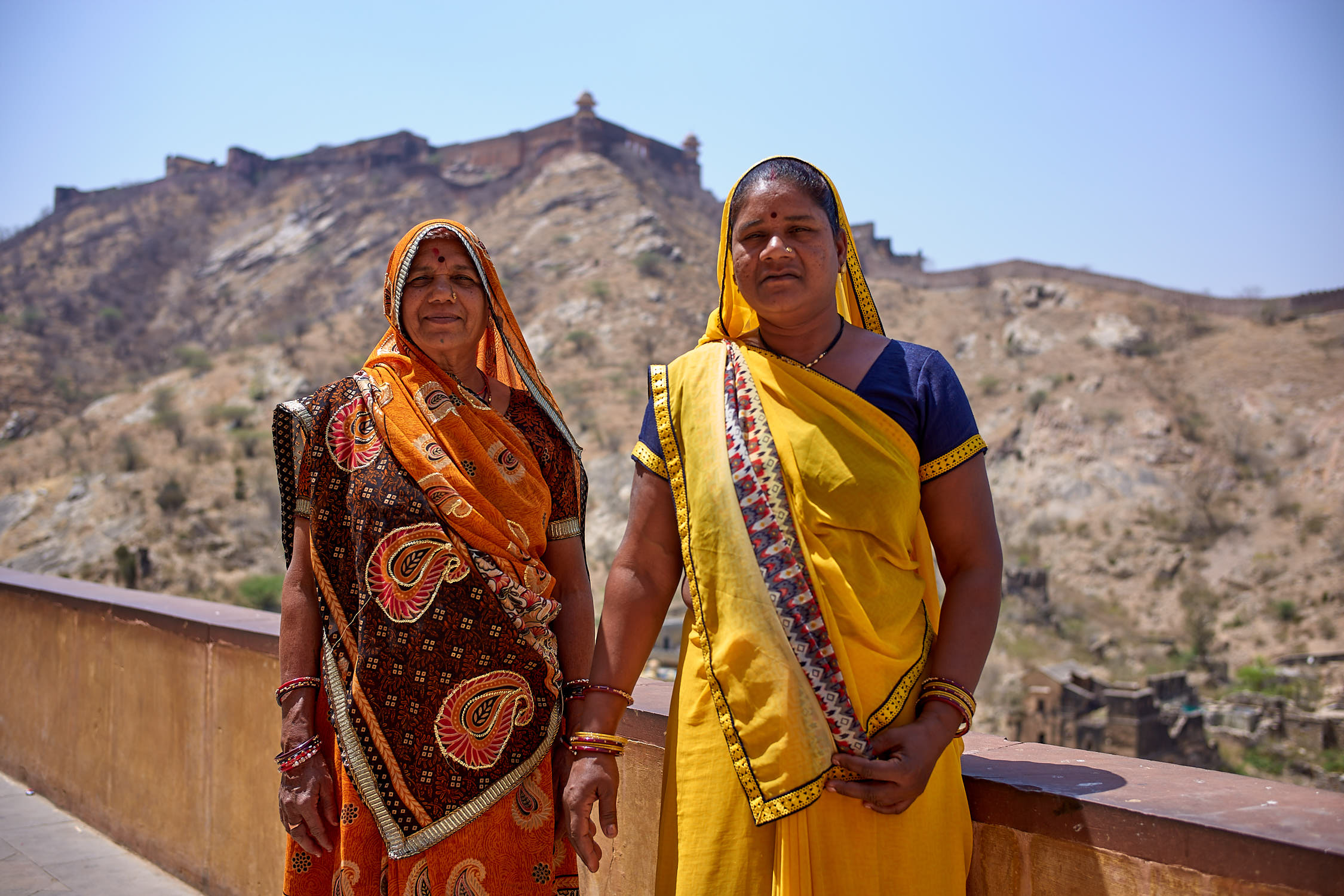 Ladies posing at Amer Fort, Jaipur
