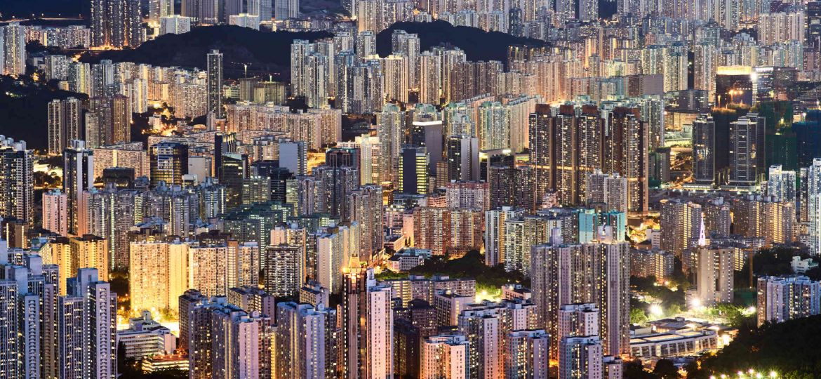 Hong Kong blue hour view of suburb
