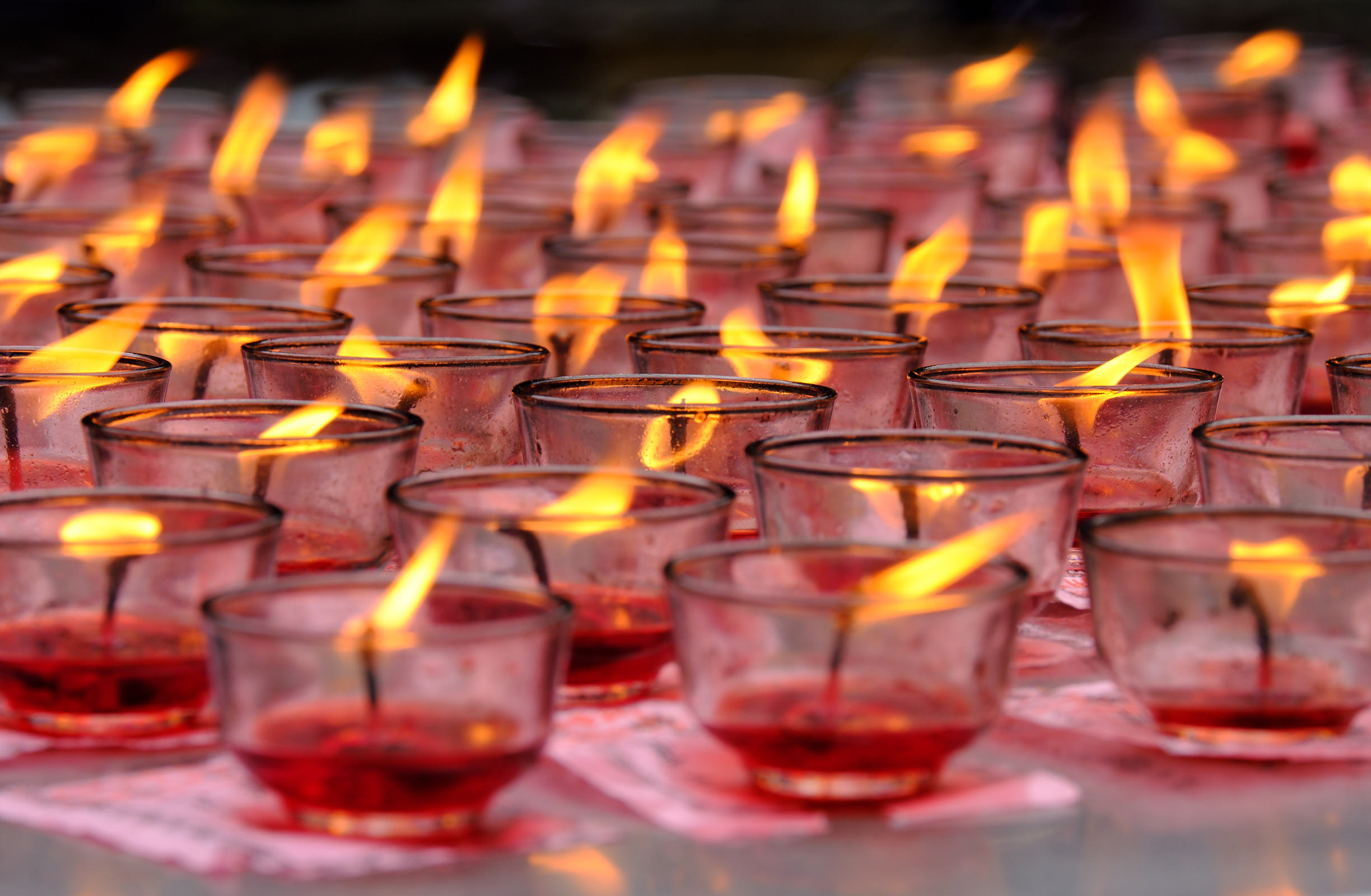 Candles at temple in Chengdu