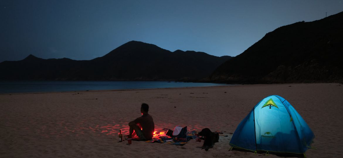 Moonlight camping at Ham Tin Wan